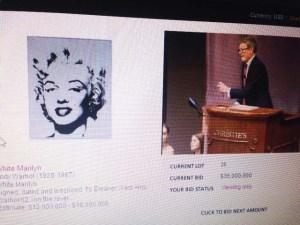 L'asta live online durante le offerte per la White Marylin, 1962, di Andy Warhol